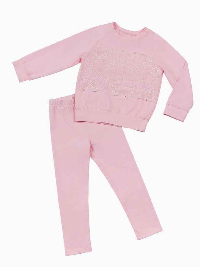 Костюм лосины и свитшот розовый