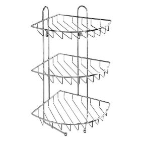 Полка трехъярусная угловая с крючками, проволока стальная, 10, Milardo, 110WC30M44