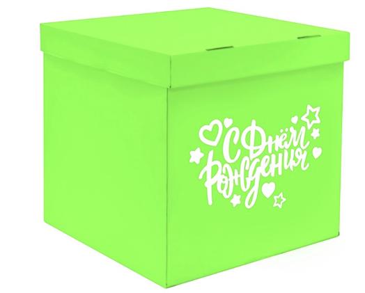 Коробка-сюрприз  60*60*60 с оформлением зелёная