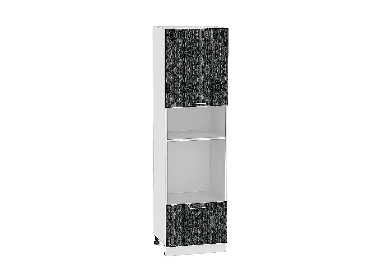 Шкаф пенал под бытовую технику Валерия ШП606 (чёрный металлик дождь)