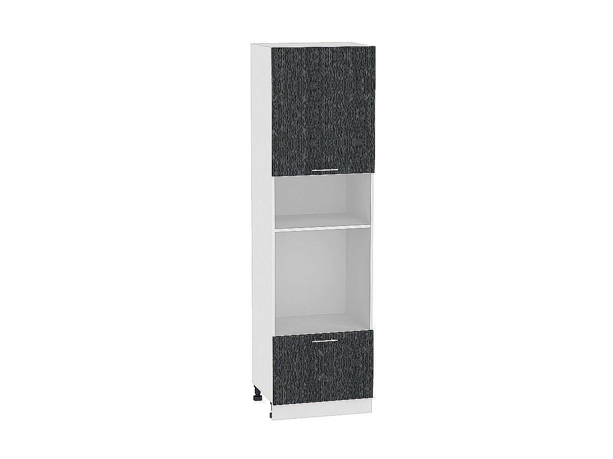 Шкаф пенал под бытовую технику Валерия ШП606Н (чёрный металлик дождь)