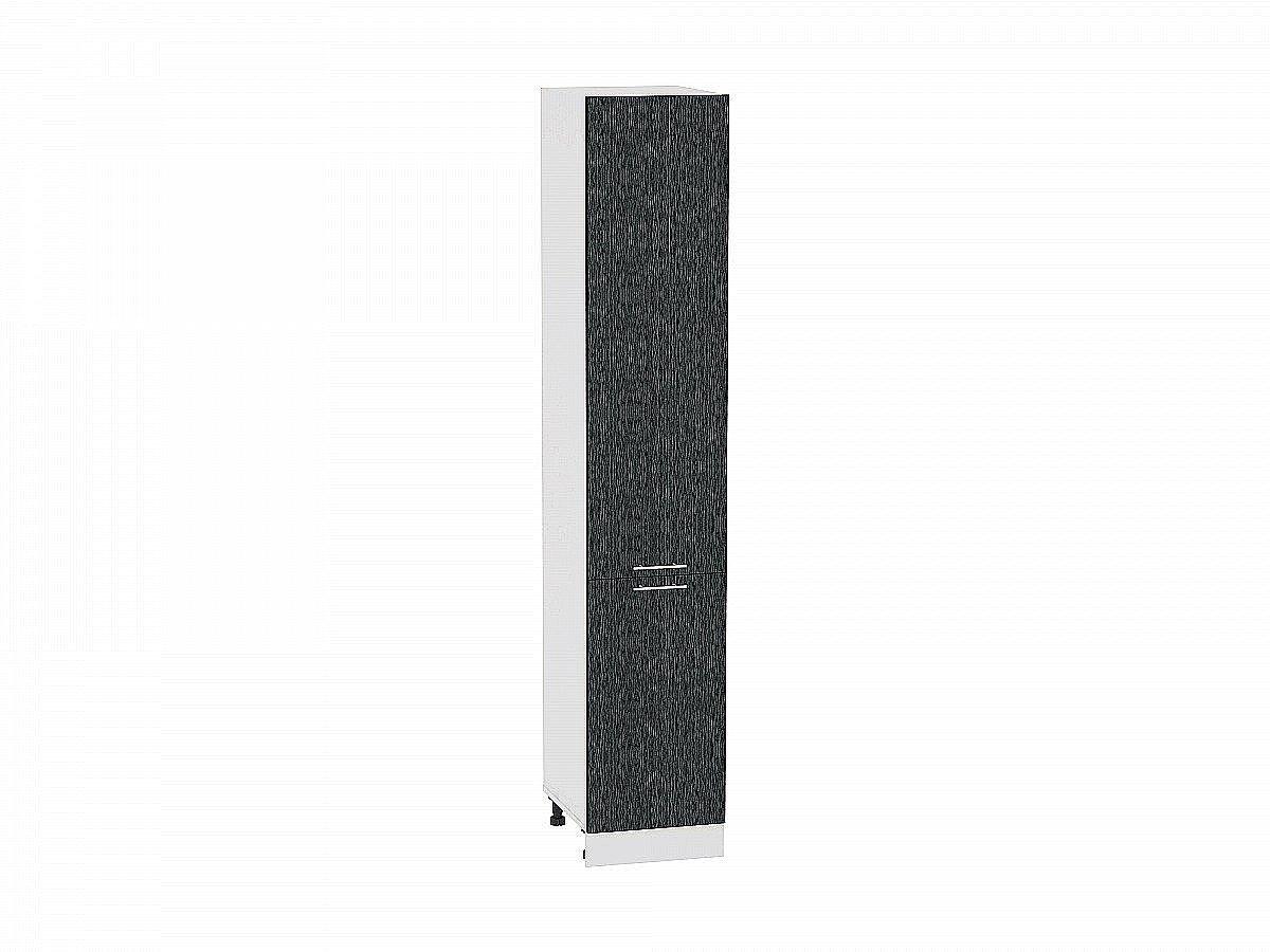 Шкаф пенал с 2-мя дверцами Валерия ШП400Н (чёрный металлик дождь)