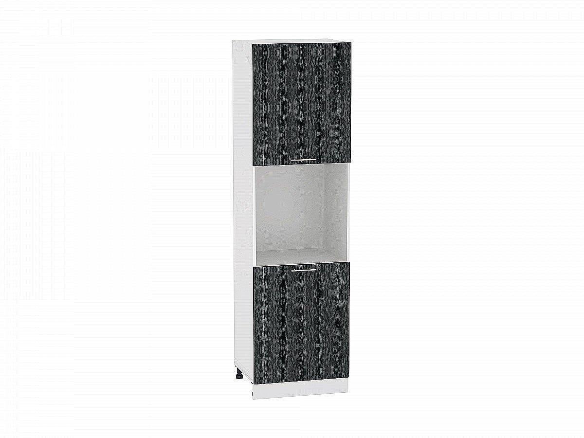 Шкаф пенал с 2-мя дверцами Валерия ШП600-Ф47 (чёрный металлик дождь)