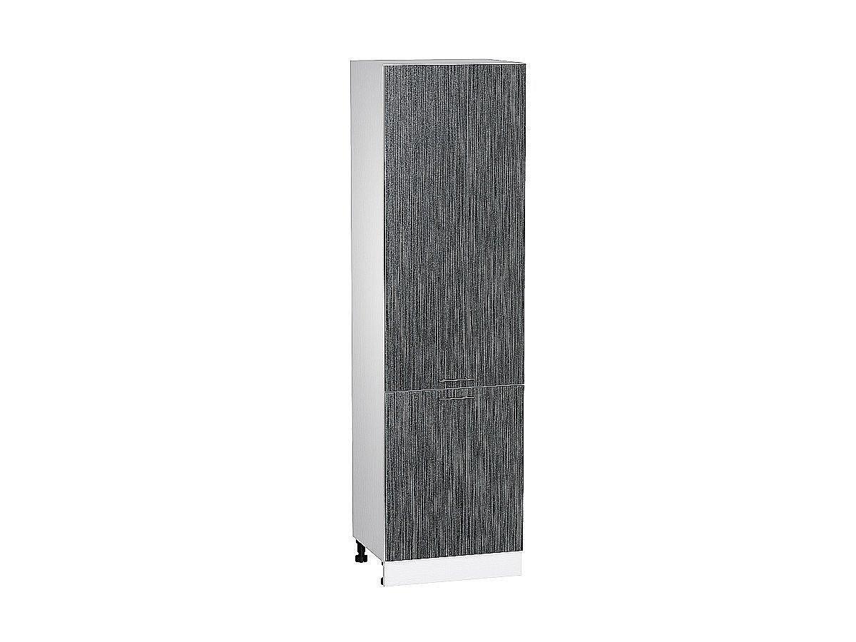 Шкаф пенал с 2-мя дверцами Валерия ШП600Н (чёрный металлик дождь)