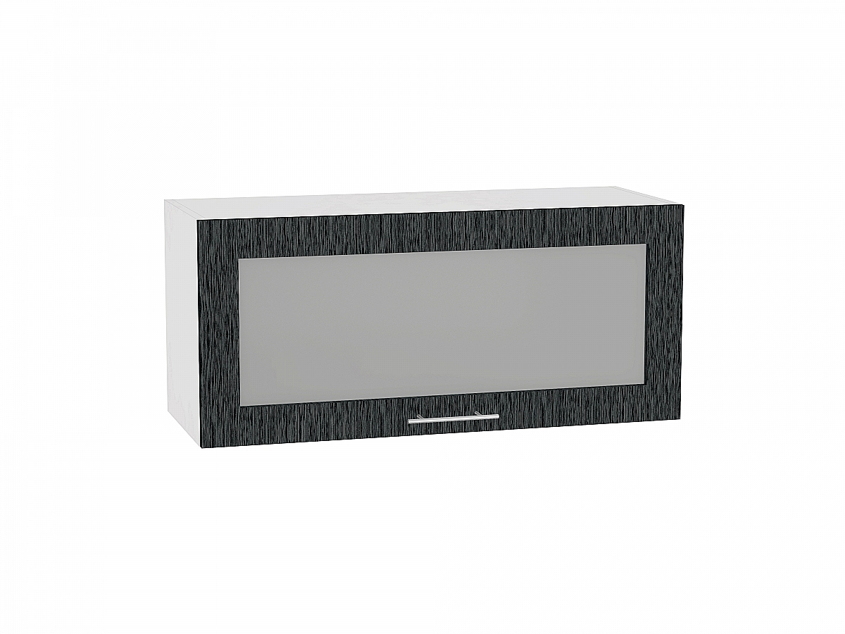 Шкаф верхний Валерия ВГ810 со стеклом (чёрный металлик дождь)