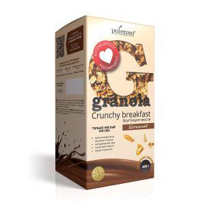 ПОЛЕЗЗНО Гранола Шоколадная на меду, без сахара 400 г