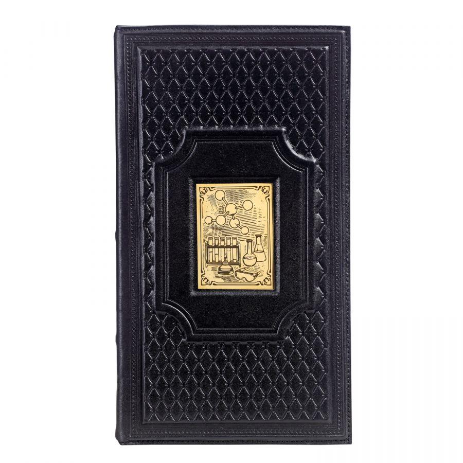 Кожаная настольная визитница «Химику-5» с накладкой покрытой золотом 999 пробы