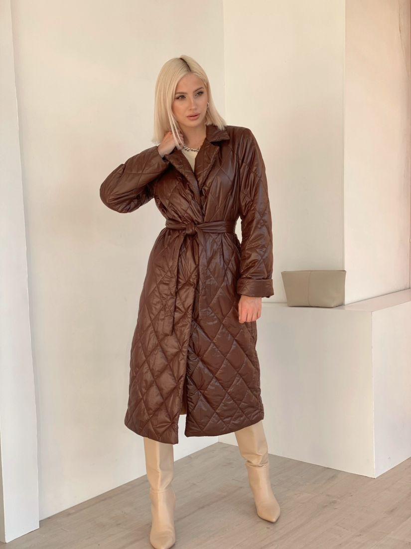 4856 Стеганое демисезонное пальто шоколадное