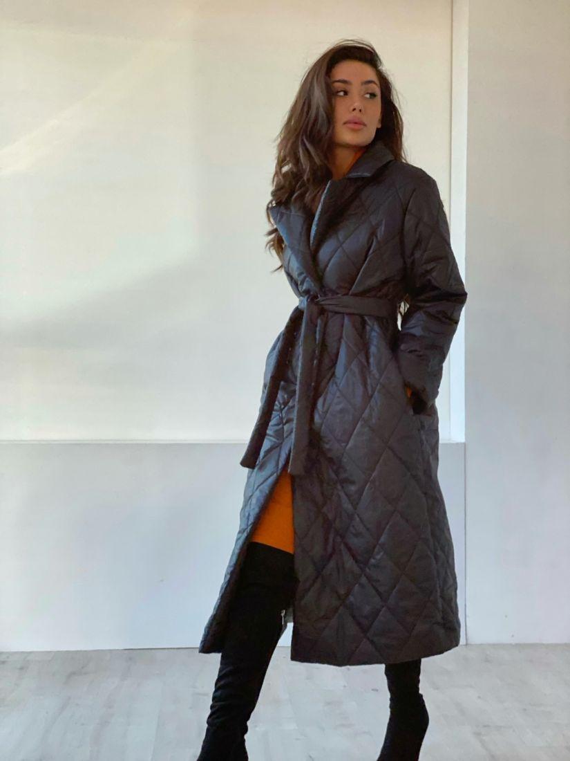4857 Стеганое демисезонное пальто чёрное