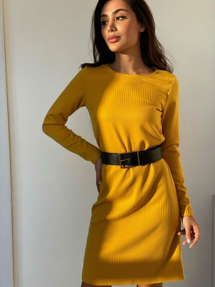 """4861 Платье-свитер в цвете """"шафран"""""""