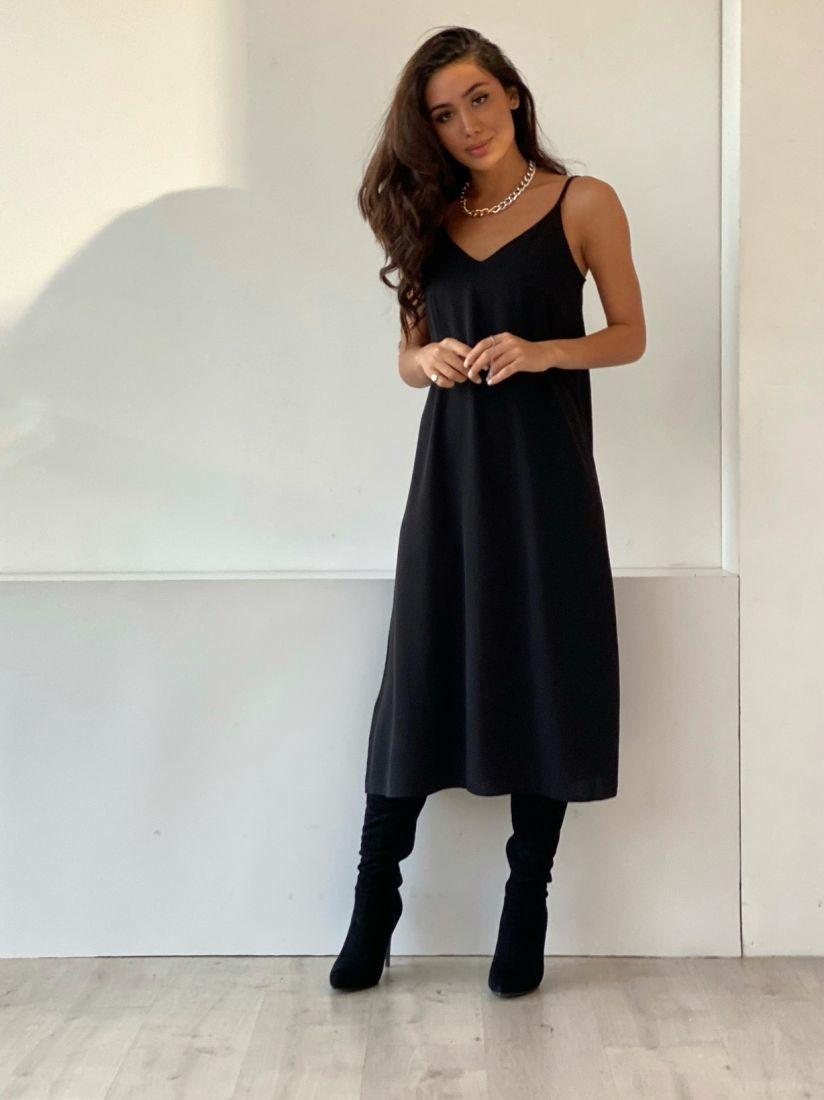 4867 Платье-комбинация с краш-эффектом чёрное