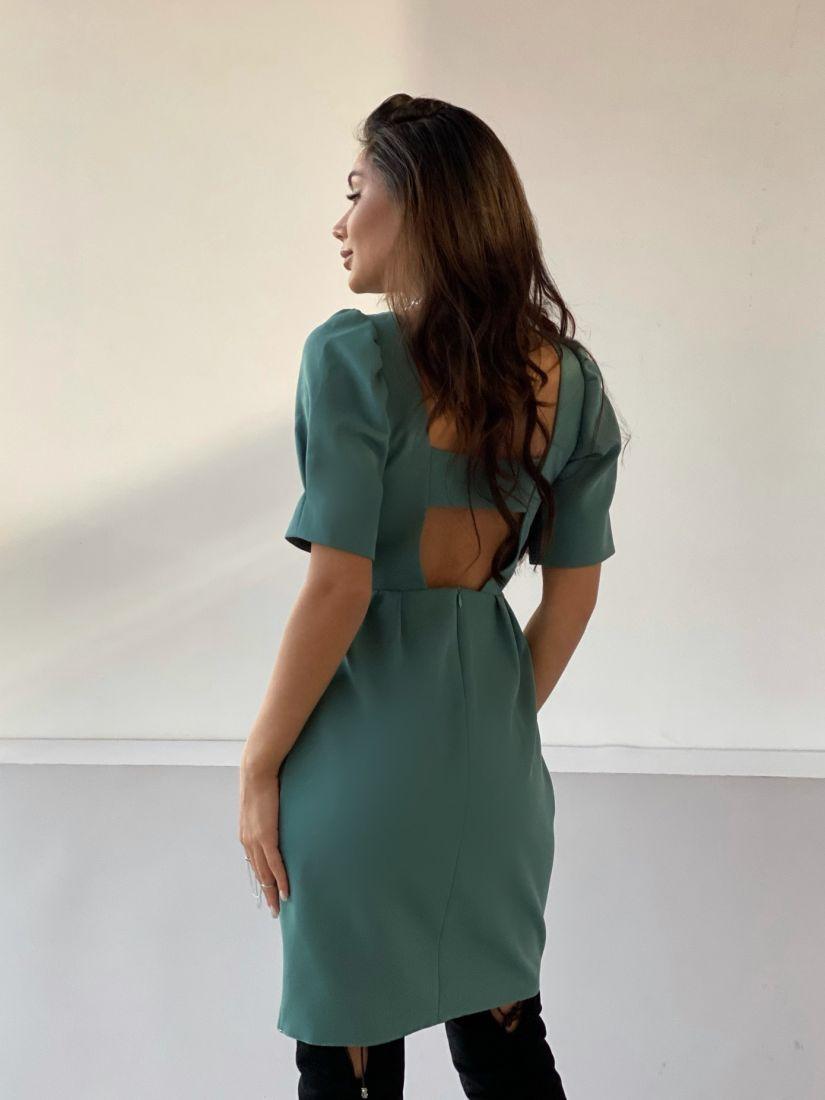 4875 Платье с декольте по спинке зелёное