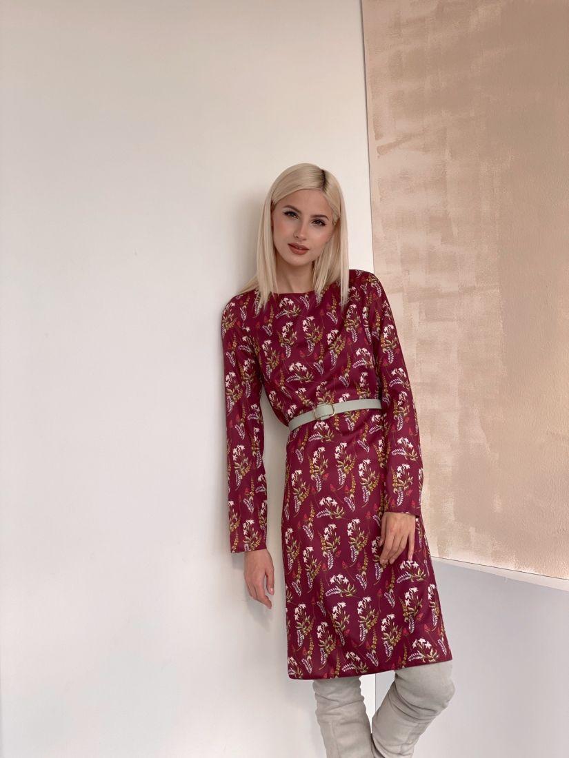 4877 Базовое платье в осенней расцветке