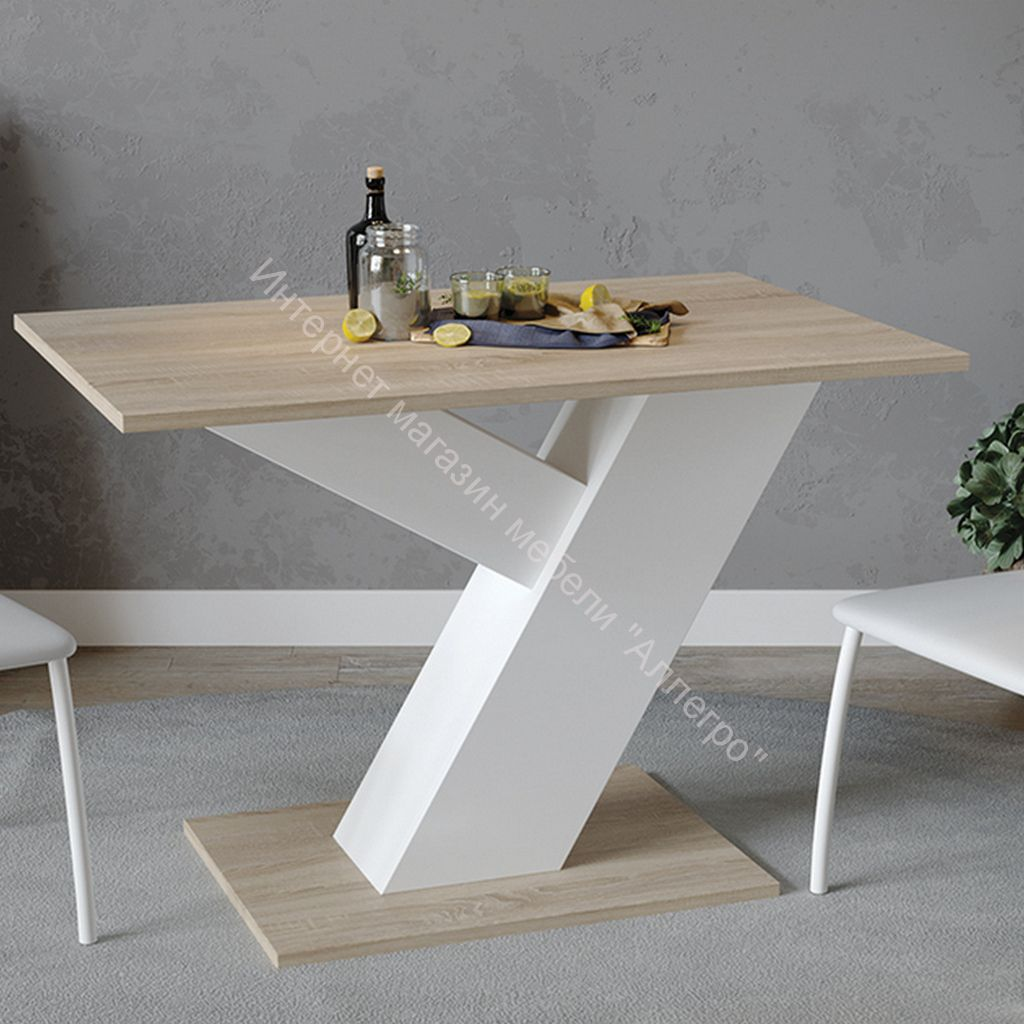 Стол обеденный «Рейн» Тип 1 (Белый Ясень/Дуб Сонома)