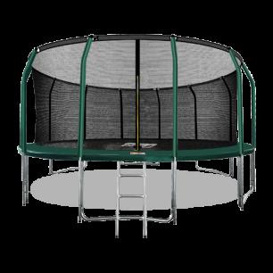 Батут премиум с внутренней страховочной сеткой и лестницей Arland 16FT (Dark green)