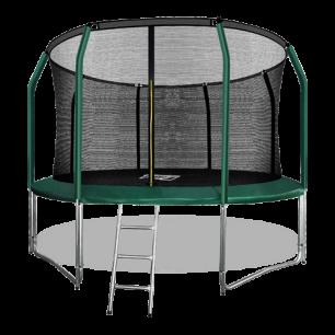 Батут премиум с внутренней страховочной сеткой и лестницей Arland 12FT (Dark green)