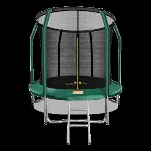 Батут премиум с внутренней страховочной сеткой и лестницей Arland 8FT (Dark green)