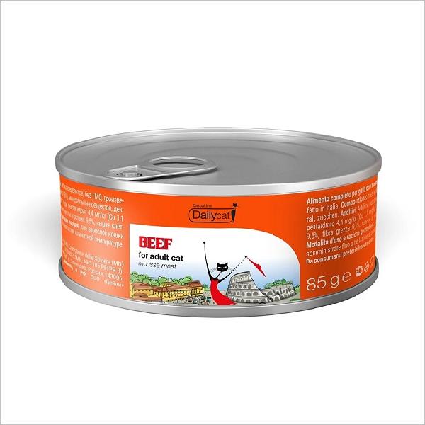 Влажный корм для кошек DailyCat Casual Line Beef мусс с говядиной 85 гр