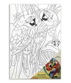 """Холст на картоне """"Два попугая"""" 20х30 см (арт. Х-9696)"""