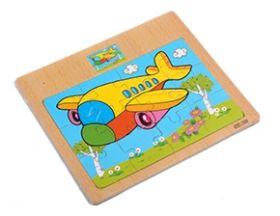 """Пазл-рамка деревянная для малышей """"Самолет"""" 12эл. (15х16.5 см) с картинкой (арт. ИД-9965)"""