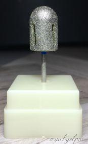 """Фреза алмазная """"ТВИСТЕР"""" цилиндр закругленный (торпеда) средний с подставкой 13мм"""