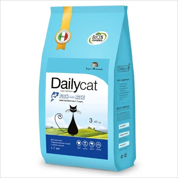 Сухой корм для стерилизованных кошек DailyCat Adult Steri Lite Fish & Rice с рыбой и рисом