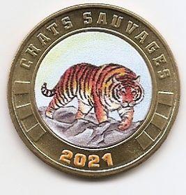 Амурский тигр 3 франка Остров Тромлен  2021