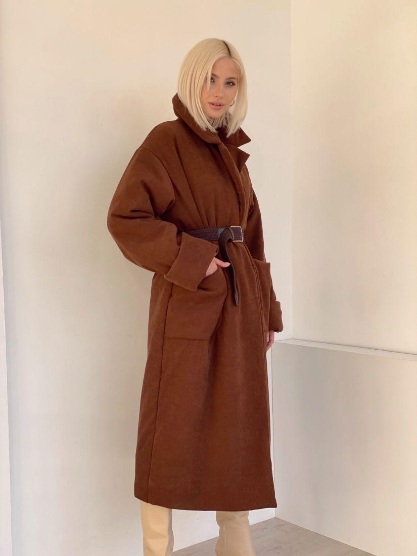 """4885 Пальто-одеяло на альполюксе """"шоколад"""""""