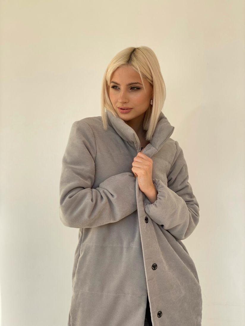 4886 Пальто утеплённое стёганое Premium серое