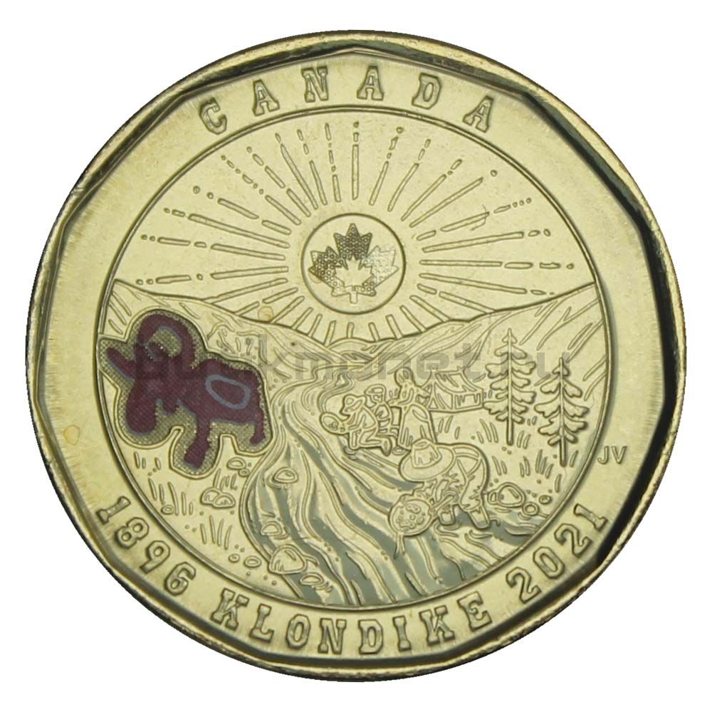 1 доллар 2021 Канада 125 лет клондайкской золотой лихорадке Цветная