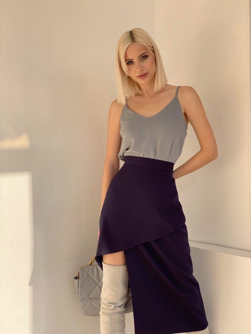 4892 Асимметричная юбка тёмно-синяя