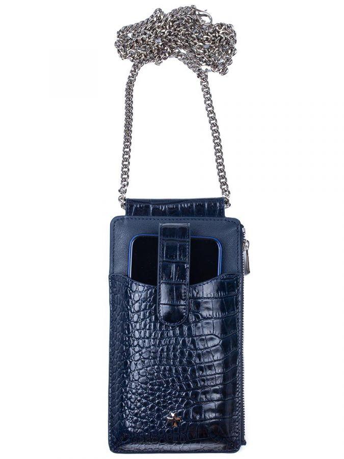 Кожаная сумочка для телефона Narvin 9244-N.Croco D.Blue