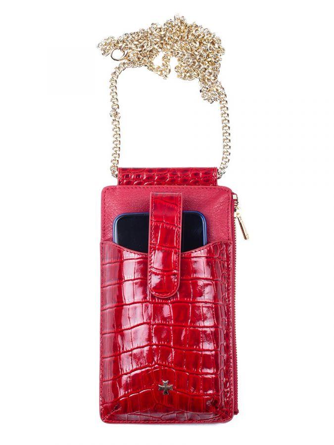 Кожаная сумочка для телефона Narvin 9244-N.Croco Red