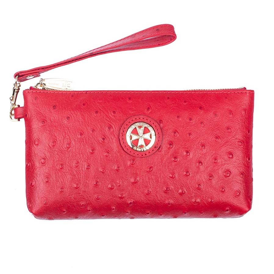 Кожаная сумочка для телефона Narvin 9247-N.Ostrich Red