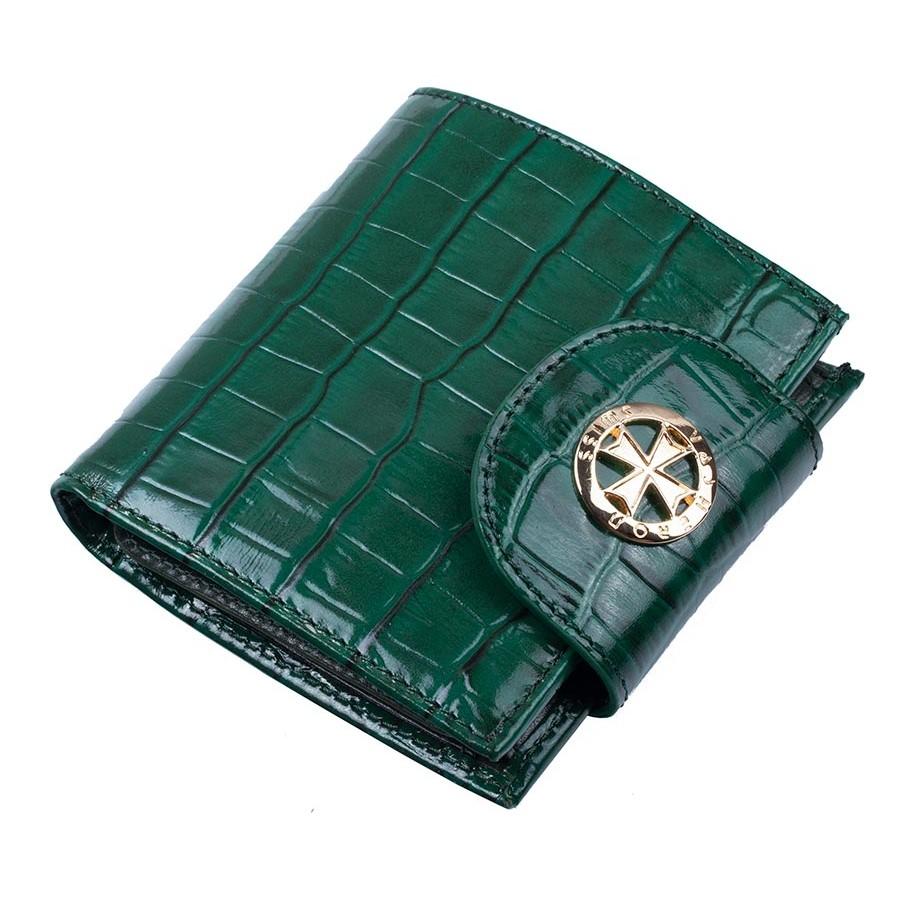 Кожаный кошелек Narvin 9581-N.Croco Green