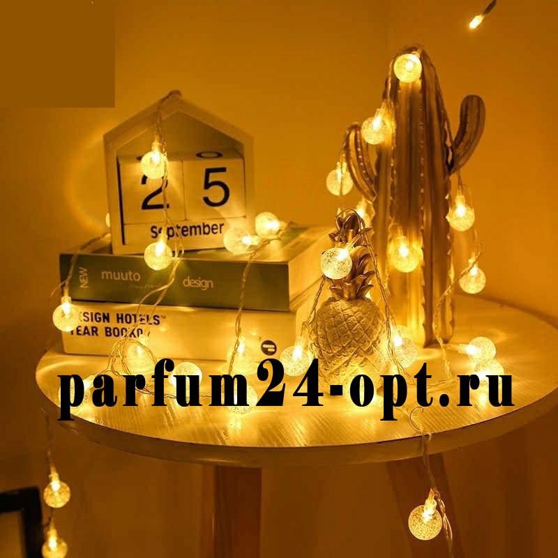 Гирлянда светодиодная - прозрачные шары, белый теплый свет (20 ламп, 3м)