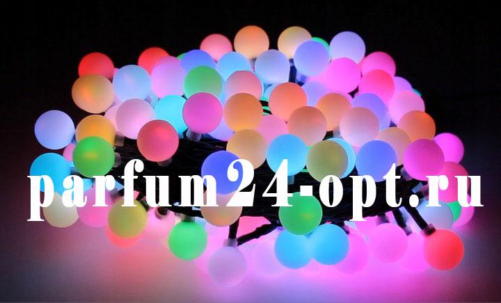 Гирлянда, шарики матовые в пластиковом контейнере (10м, 100 ламп)