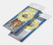 25 рублей, ГОД ТИГРА - НОВЫЙ ГОД 2022. Монета с цветной эмалью и гравировкой + ОТКРЫТКА