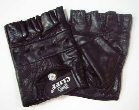 Перчатки для тяжёлой атлетики и велоспорта ОМОН чёрные, кожа, размер M