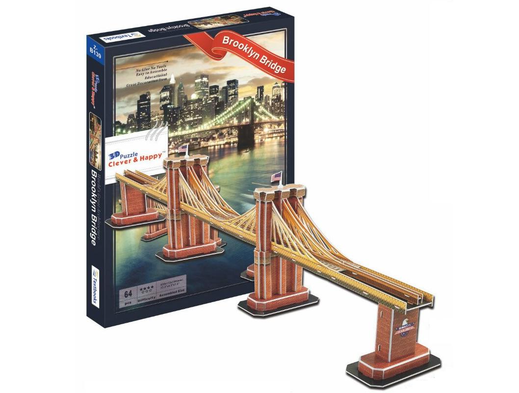 Макет Бруклинский мост 3D пазл конструктор 64 детали