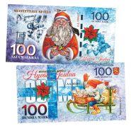 100 Sata markkaa Finland (финская марка) — Рождество Финляндия. UNC