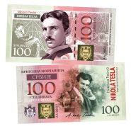 100 Динара (Sto Dinara) СРБИJE — Nicola Tesla (Никола Тесла, Сербия). UNC
