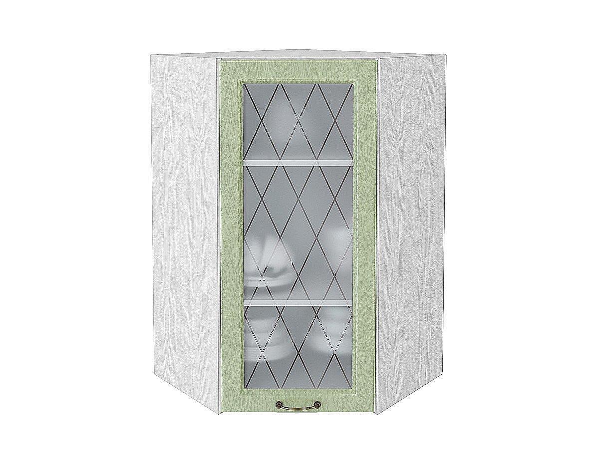 Шкаф верхний угловой (трапеция) Ницца ВУ599 со стеклом (дуб оливковый)