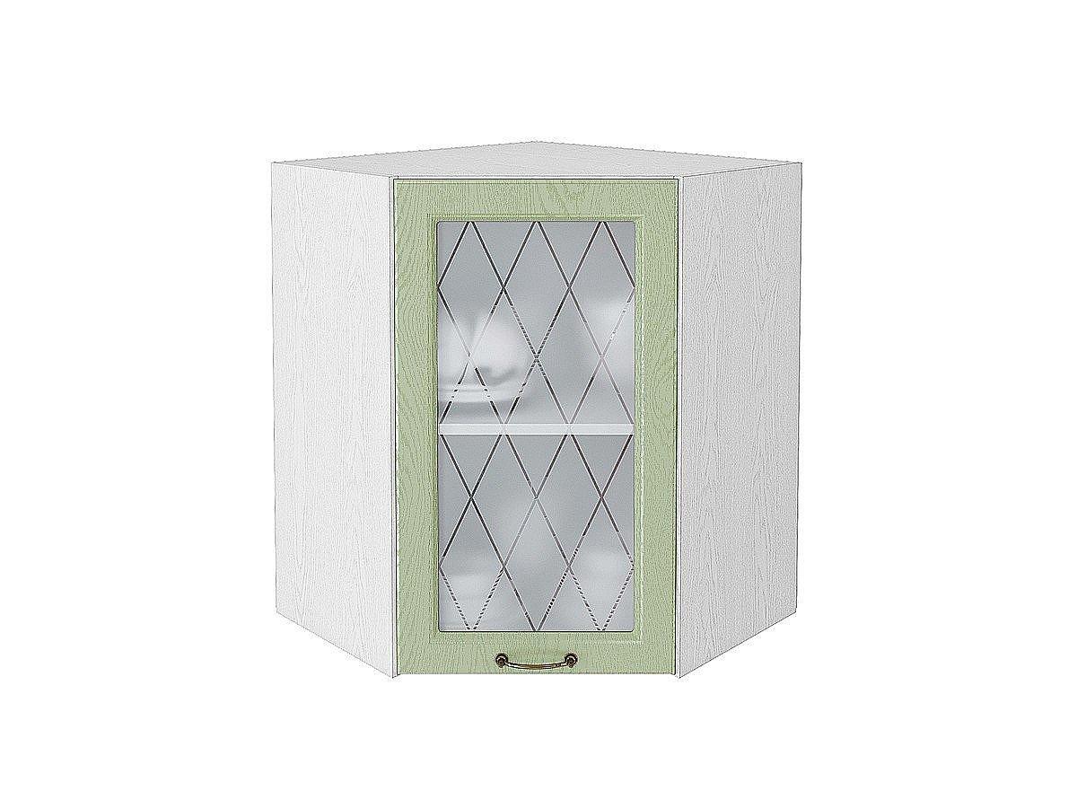Шкаф верхний угловой (трапеция) Ницца ВУ590 со стеклом (дуб оливковый)