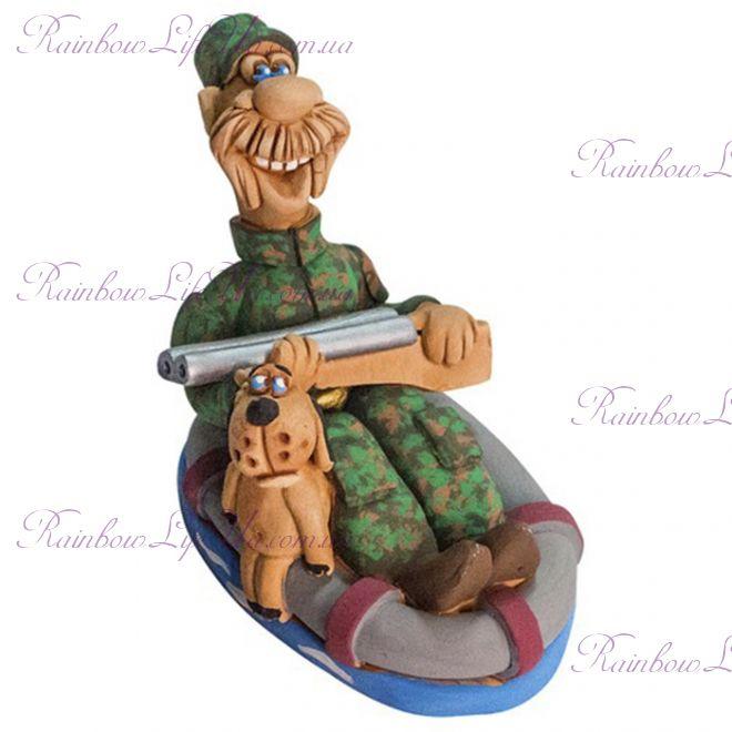 """Статуэтка мужчина """"Охотник в лодке с собакой"""""""