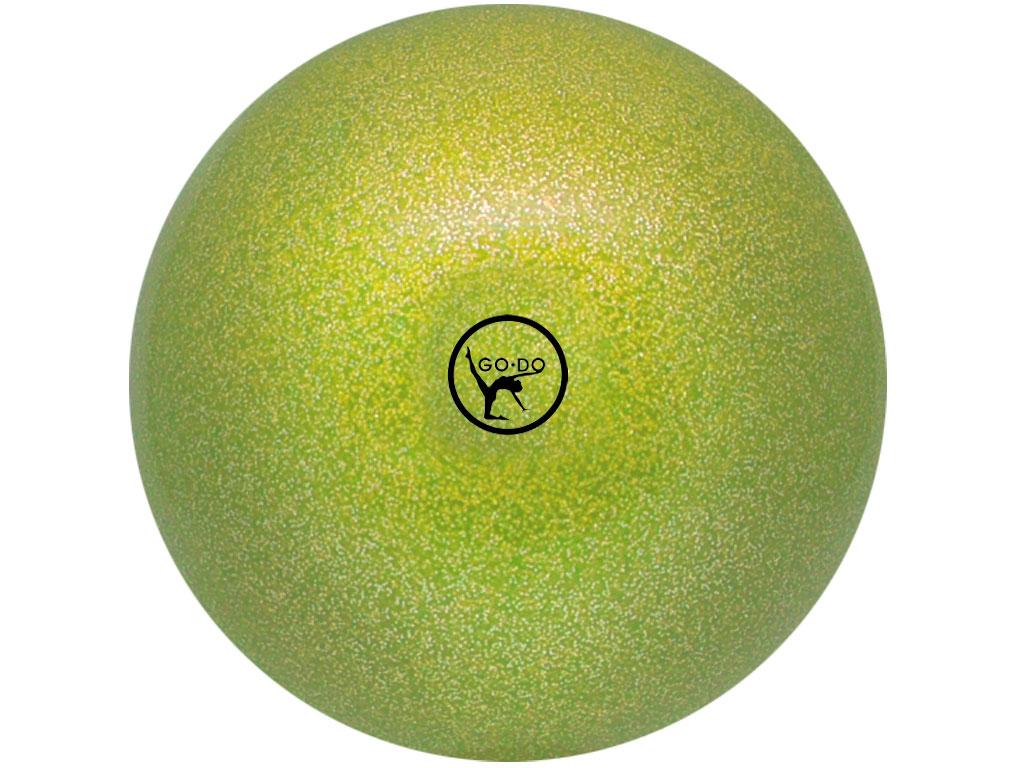 Мяч для художественной гимнастики GO DO. Диаметр 19 см. Цвет: салатовый с глиттером. Артикул 00629