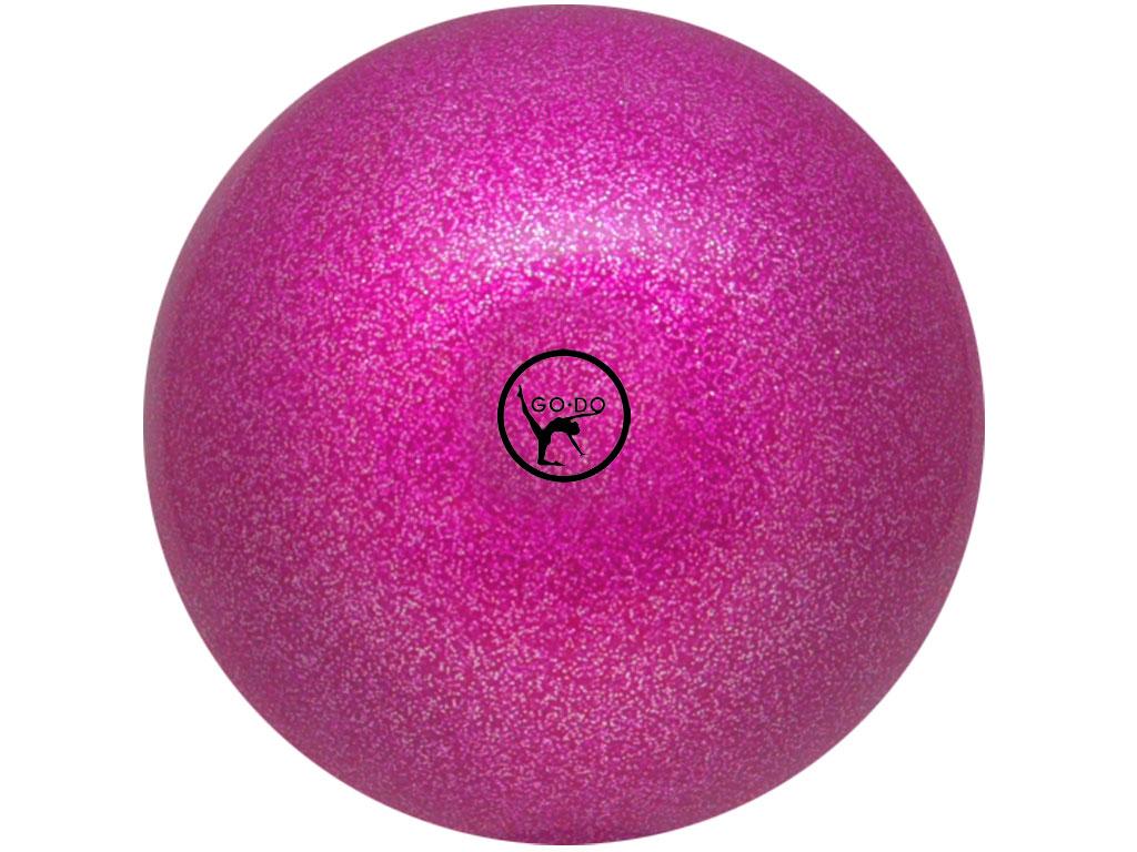 Мяч для художественной гимнастики GO DO. Диаметр 19 см. Цвет: розовый с глиттером. Артикул 00633