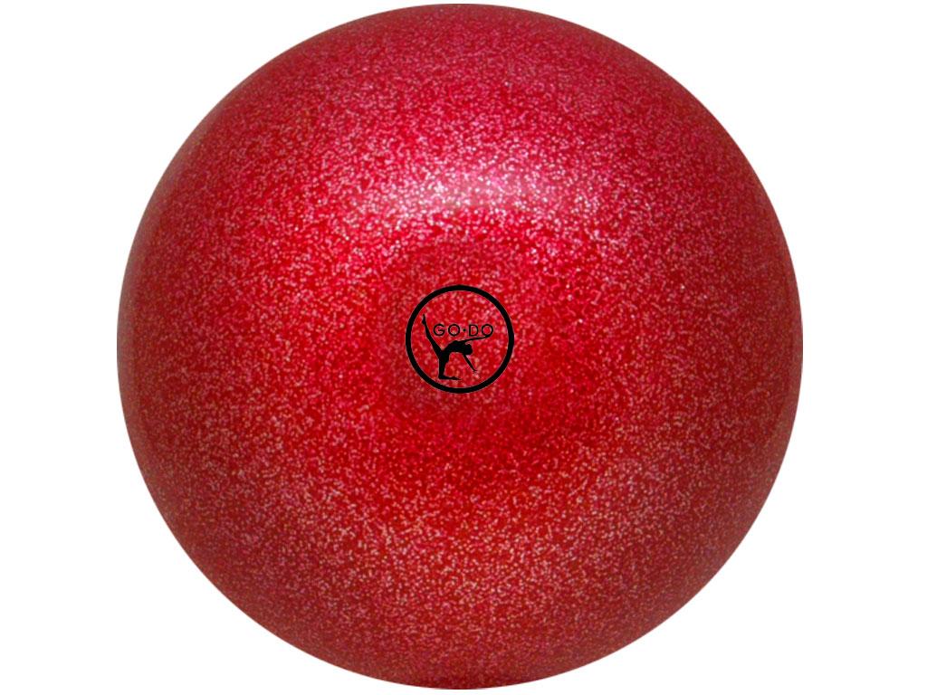Мяч для художественной гимнастики GO DO. Диаметр 19 см. Цвет: красный с глиттером. Артикул 00630