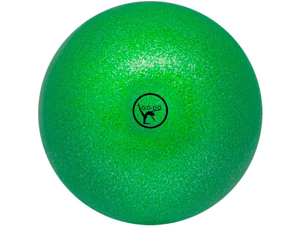 Мяч для художественной гимнастики GO DO. Диаметр 19 см. Цвет: зелёный с глиттером. Артикул 00634