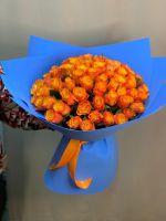 """Букет дня """"Осенний поцелуй"""" (красно-желтая роза в дизайнерской упаковке)"""